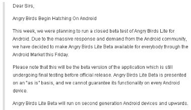angry birds coming to android email from Rovio