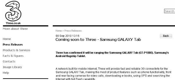 Three to carry Galaxy Tab