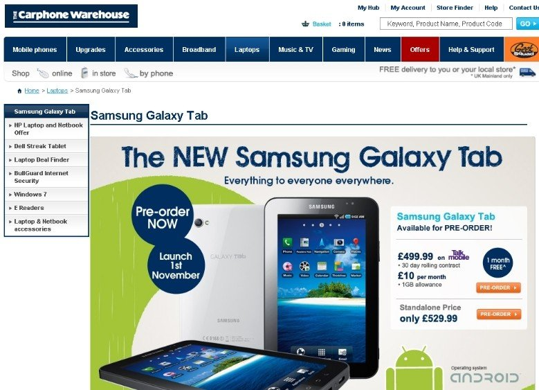 samsung galaxy tab available for pre-order at carphone warehouse