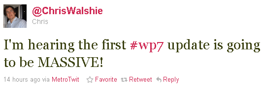 chris walshie wp7 update quote