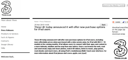 three also announce contract ipads