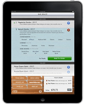 order your meal from an ipad - screenorder your meal from an ipad - screen