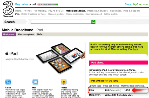 three announce ipad contract pricing better data allowance