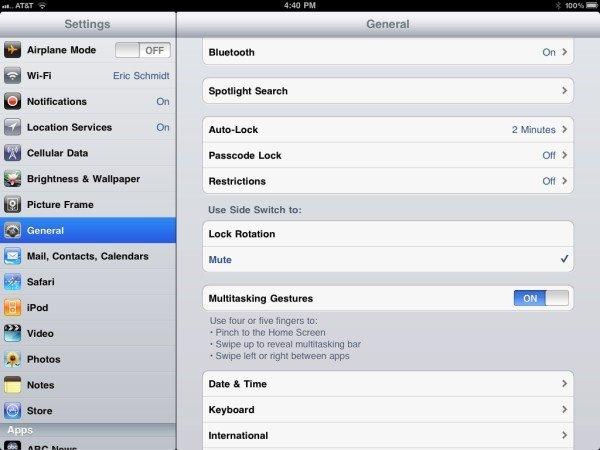 iOS4.3 ipad slide button configuration option