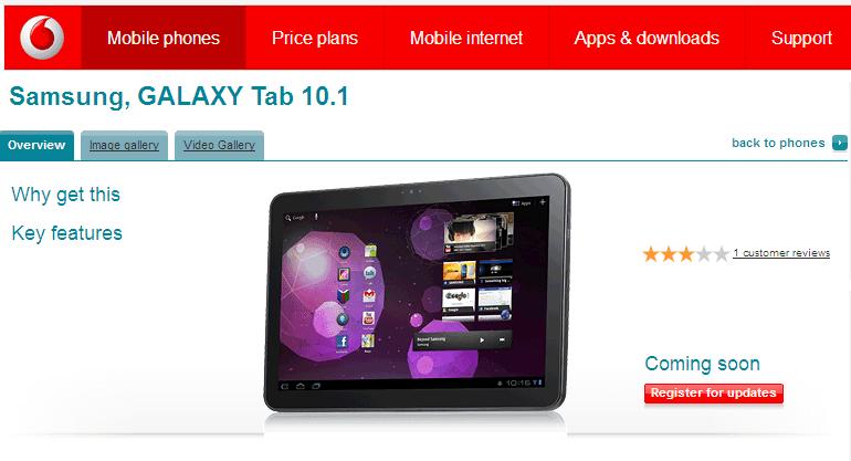 samsung galaxy tab 10.1 coming soon to vodafone
