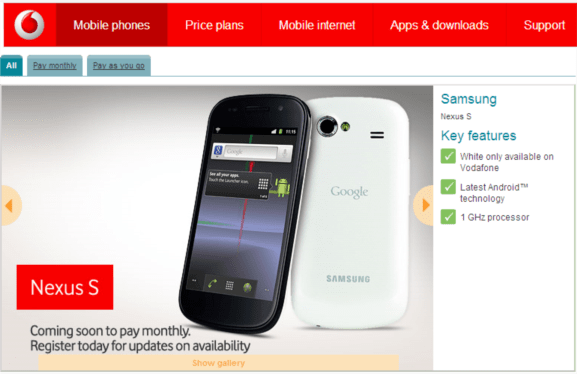 vodafone about to launch google nexus s in exclusive white