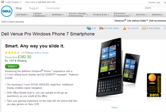 dell venue pro available on dell uk website