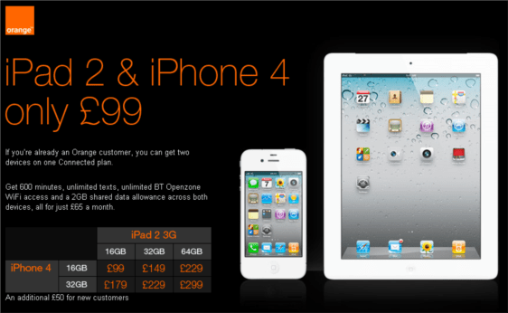 orange launch single plan for ipad and iphone