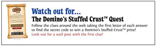 dominos stuffed crust treasure quest facebook image