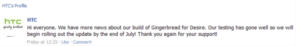 htc facebook page desire gingerbread update complete in july