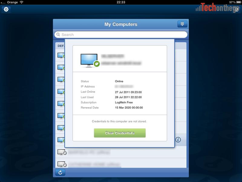 logmein ipad app computer information screen