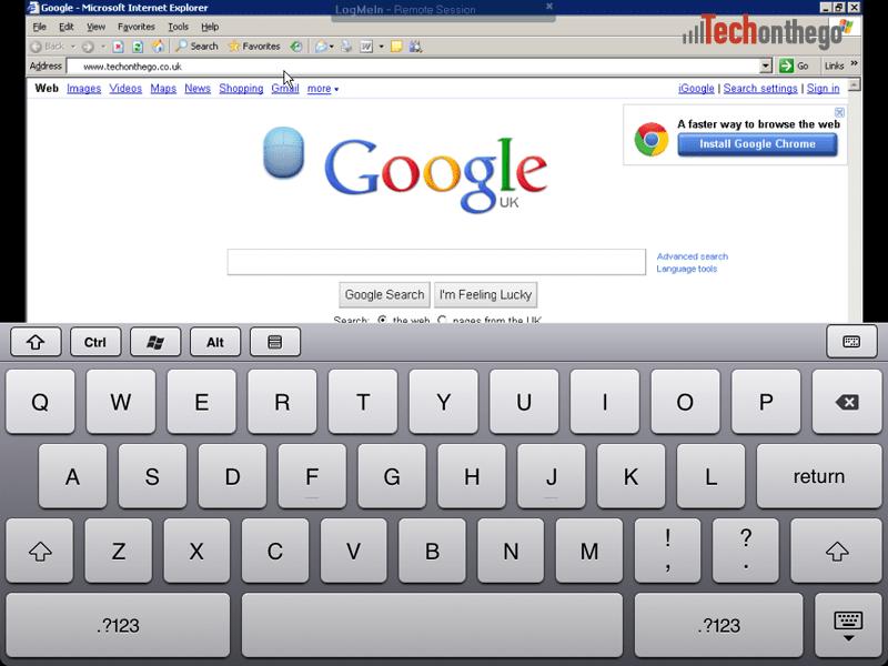 logmein ipad app keyboard text entry