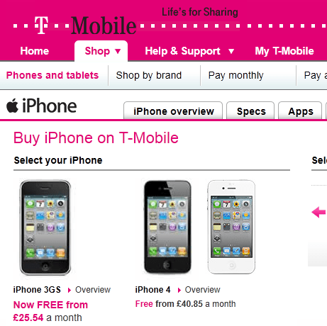 t-mobile iphone 3gs free from 25 pounds per month