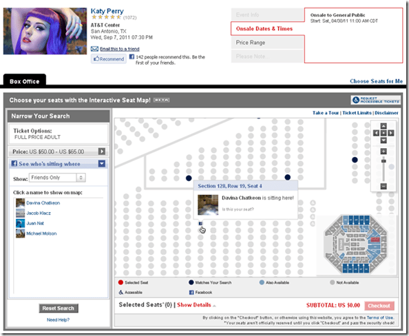 ticketmaster facebook integration view friends seating per seat