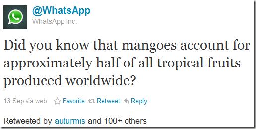 whatsapp mango tweet