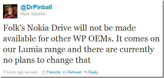 mark squires confirms nokia drive not available outside lumia range