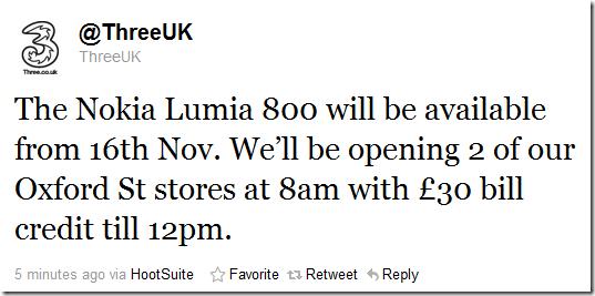 nokia lumia 800 available on three november 16th
