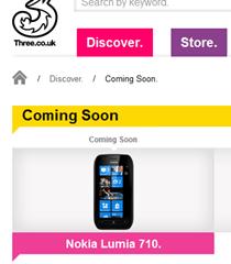 nokia lumia 710 coming soon on three website