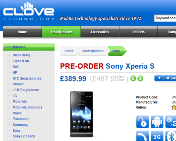 clove technology announce pre-order of Sony Xperia S