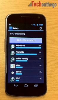 galaxy nexus battery detail screen