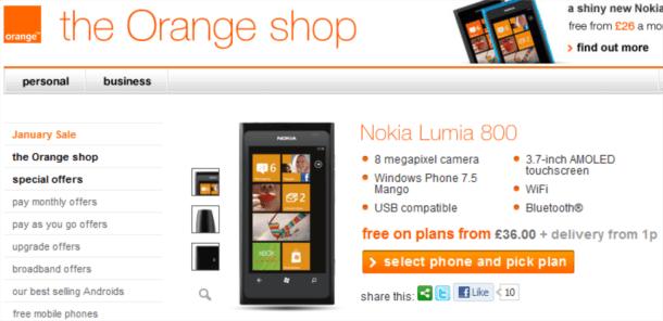 orange lumia 800 at 36 per month