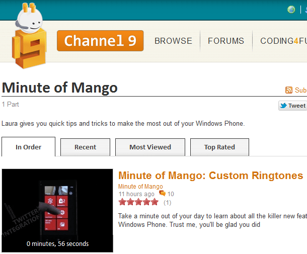 microsoft channel 9 launch minute of mango series of video tips