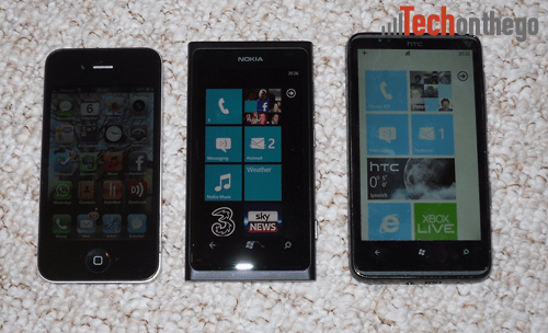 nokia lumia 800 and iphone4 and htc hd7