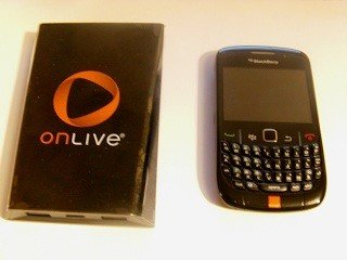 onlive console compared in size with blackberry handset