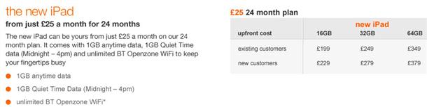 orange announce ipad3 contract pricing