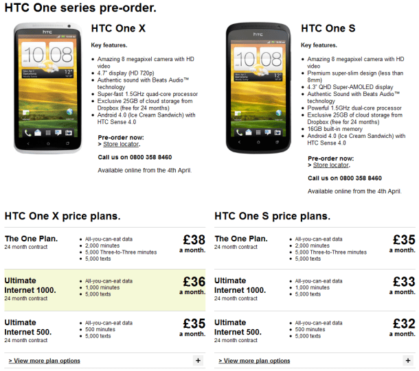 three announce htc one x and one s contract pricing