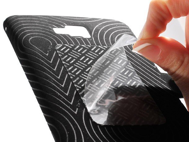 puro samsung galaxy note case open sticky pad adhesive closeup