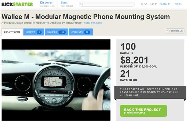 kickstarter wallee magnetic mount for iphone and galaxy nexus