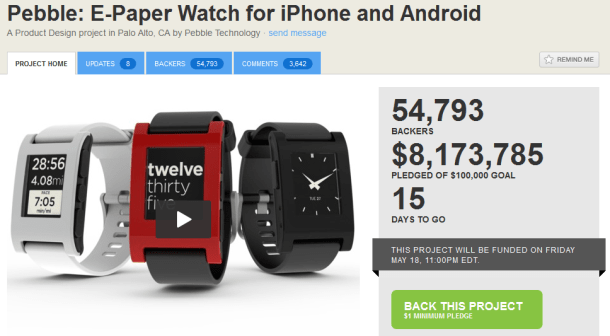pebble e-paper watch for iphone and android crosses 8million in pledge funding