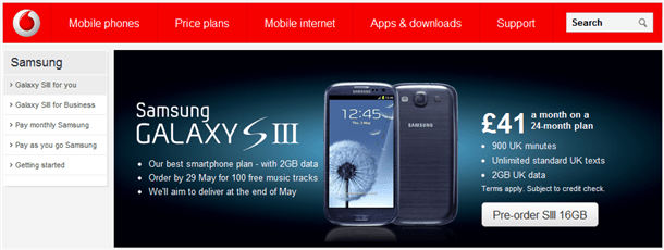 samsung galaxy s3 available to pre-order on vodafone