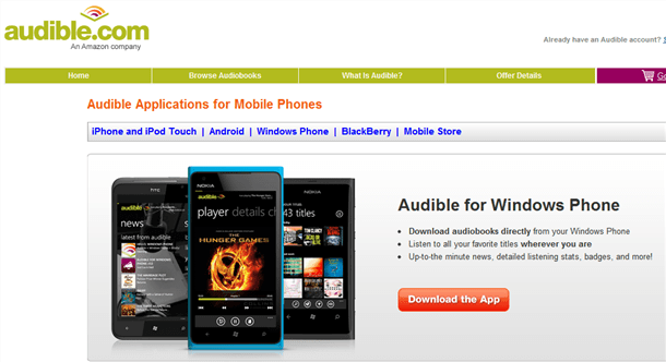 audible app now available on windows phone