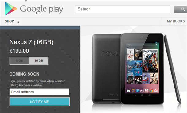 google nexus 7 16gb sold out