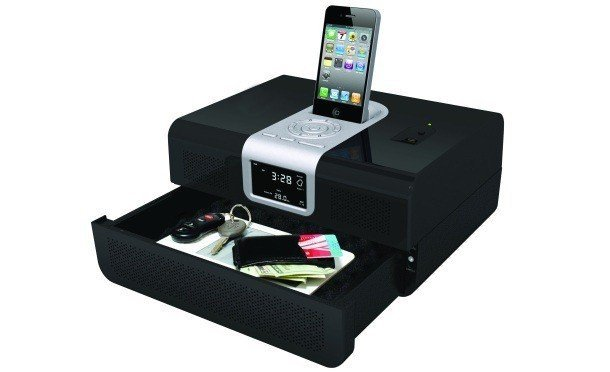canonsecurity iphone clock radio with built in biometric safe