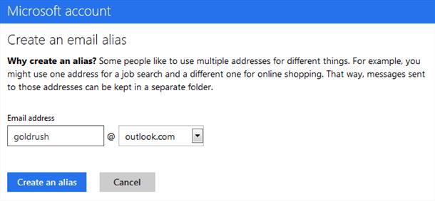 new outlook.com email alias service