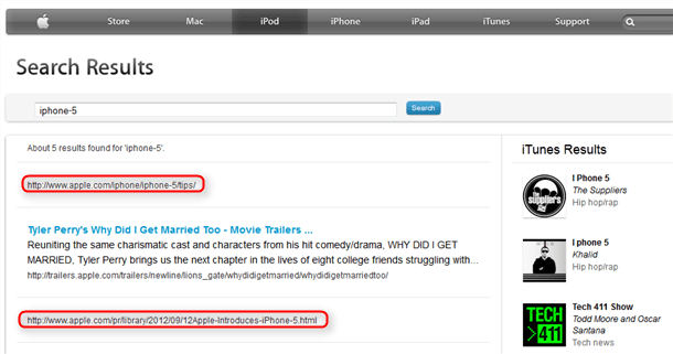 apple site search results confirm iPhone5 name