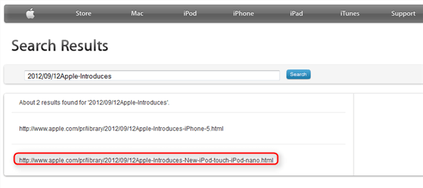 apple site search results confirm new iPod Touch and new iPod Nano_thumb[2]