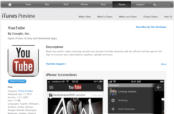 google standalone youtube app in itunes