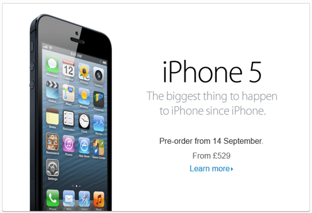 iphone5 available september 21st for £529