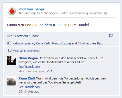 Vodafone Germany Confirms Lumia 920 and 820 Release Date As November 1st