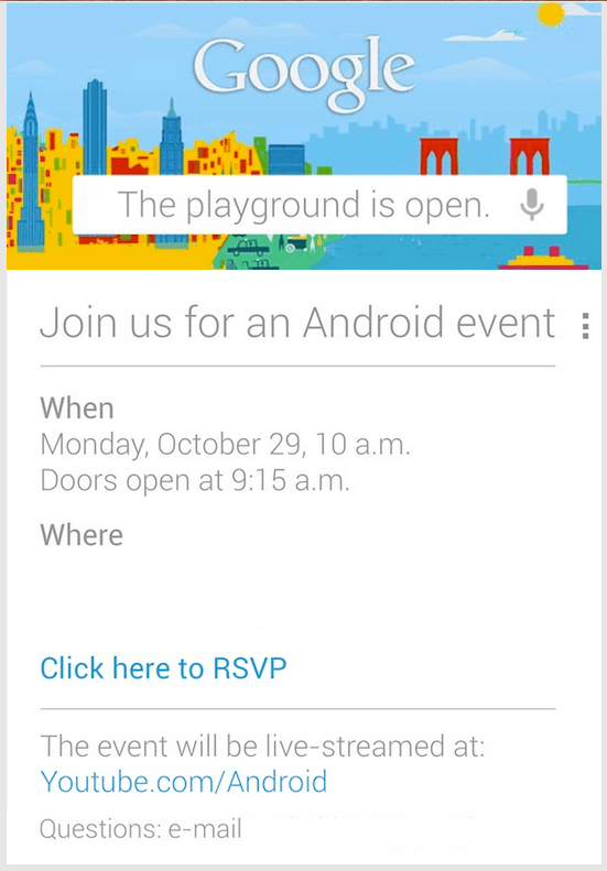 google october 29th android event invite