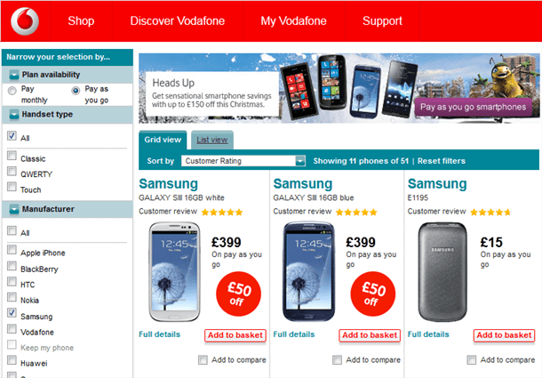 Vodafone Drop Prices On Selected PAYG Handsets
