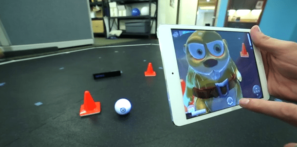 sphero with iphone and app showing augmented reality