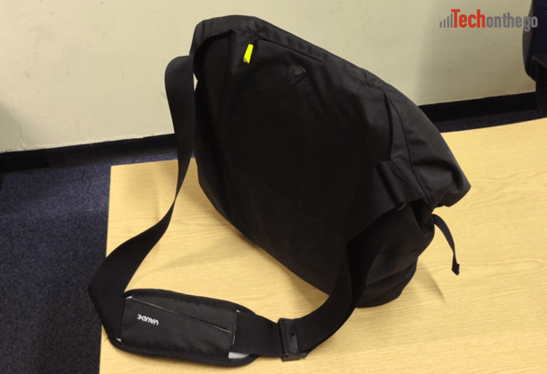 vaude mantis 17-7 laptop bag - closed rear with shoulder strap