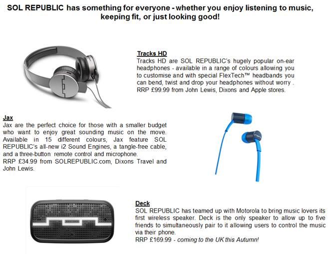 Sol Republic Announces Partnership With Motorola For Music Accessories