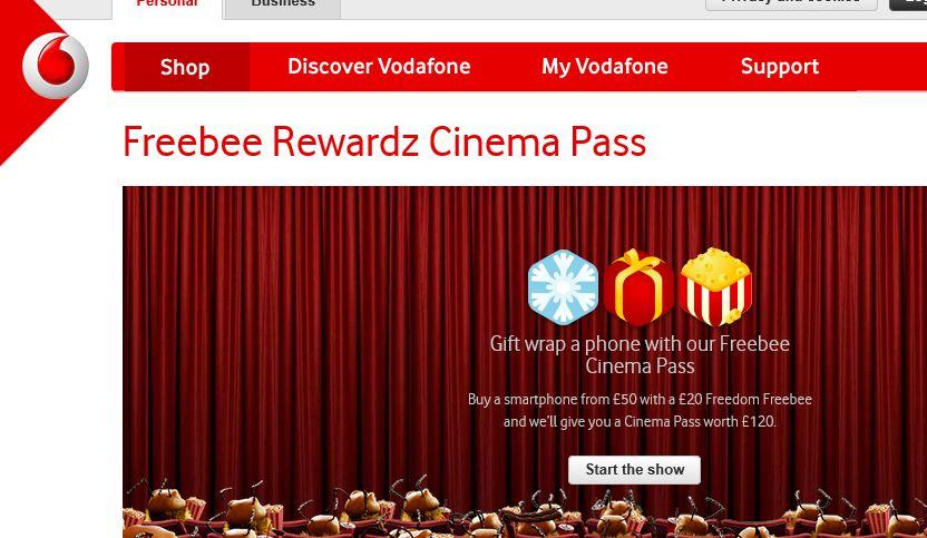 Get £120 To Spend At The Cinema With Vodafone PAYG Freebee Rewardz