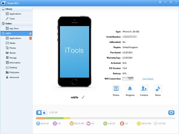 itools main interface iphone connected